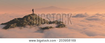 The man up the mountain above the clouds. This is a 3d render illustration