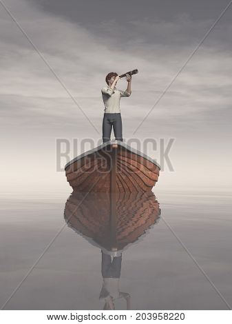 Man in a boat looking through the telescope. This is a 3d render illustration