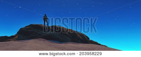 A man looks at the stars in the top of the mountain. This is a 3d render illustration