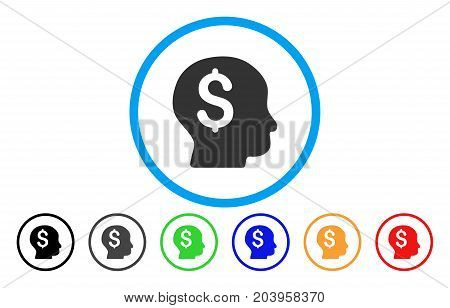 Banker icon. Vector illustration style is a flat iconic banker grey rounded symbol inside light blue circle with black, gray, green, blue, red, orange color additional versions.