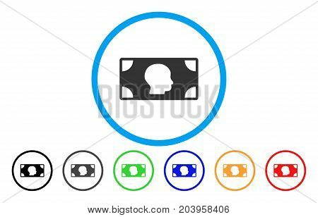 Banknote icon. Vector illustration style is a flat iconic banknote gray rounded symbol inside light blue circle with black, gray, green, blue, red, orange color additional versions.