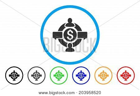 Financial Social Network icon. Vector illustration style is a flat iconic financial social network grey rounded symbol inside light blue circle with black, gray, green, blue, red,