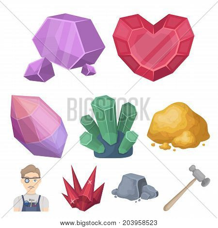 A set of jewelry, crystals, minerals and expensive metals. The jeweler inspects the ornaments.Precious minerals amd jeweler icon in set collection on cartoon style vector symbol stock web illustration.