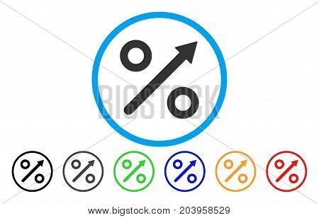 Growing Percent icon. Vector illustration style is a flat iconic growing percent gray rounded symbol inside light blue circle with black, gray, green, blue, red, orange color variants.