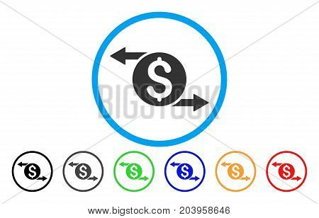Money Exchange icon. Vector illustration style is a flat iconic money exchange gray rounded symbol inside light blue circle with black, gray, green, blue, red, orange color versions.