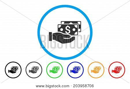 Pay By Cash icon. Vector illustration style is a flat iconic pay by cash grey rounded symbol inside light blue circle with black, gray, green, blue, red, orange color variants.
