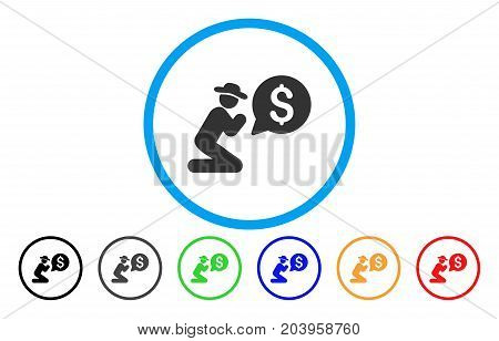 Pray For Money icon. Vector illustration style is a flat iconic pray for money grey rounded symbol inside light blue circle with black, gray, green, blue, red, orange color versions.