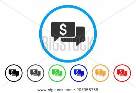 Price Bids icon. Vector illustration style is a flat iconic price bids grey rounded symbol inside light blue circle with black, gray, green, blue, red, orange color variants.