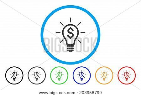 Profitable Invention icon. Vector illustration style is a flat iconic profitable invention grey rounded symbol inside light blue circle with black, gray, green, blue, red,