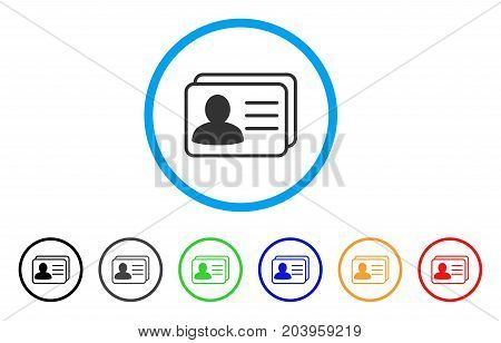 Account Cards icon. Vector illustration style is a flat iconic account cards grey rounded symbol inside light blue circle with black, gray, green, blue, red, orange color versions.