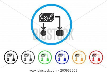 Cashflow icon. Vector illustration style is a flat iconic cashflow gray rounded symbol inside light blue circle with black, gray, green, blue, red, orange color versions.