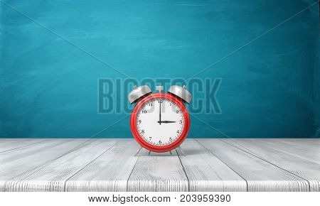 3d rendering of a red vintage alarm clock with metal bells stands on a wooden desk in front of blue background. Retro interior. Keeping with schedule. Back to school.