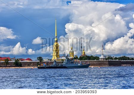 ST.PETERSBURG/RUSSIA - JULY 22, 2017. The Russian Navy warship on the Neva River near the Peter and Paul Fortress