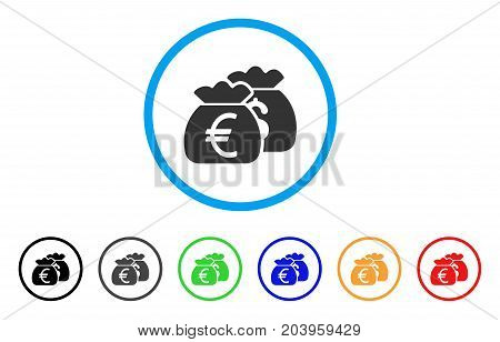 Euro Money Bags icon. Vector illustration style is a flat iconic euro money bags grey rounded symbol inside light blue circle with black, gray, green, blue, red, orange color variants.