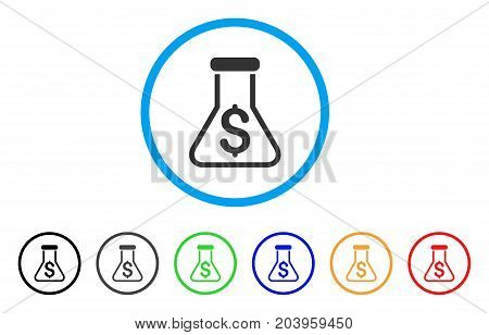 Financial Alchemy icon. Vector illustration style is a flat iconic financial alchemy grey rounded symbol inside light blue circle with black, gray, green, blue, red, orange color variants.