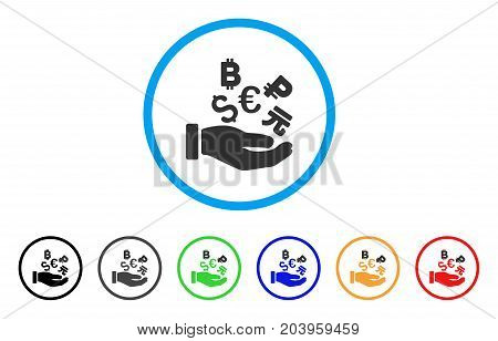 International Investment Hand icon. Vector illustration style is a flat iconic international investment hand gray rounded symbol inside light blue circle with black, gray, green, blue, red,