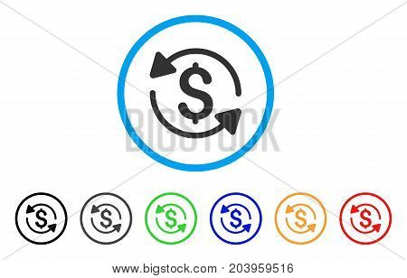 Money Turnover icon. Vector illustration style is a flat iconic money turnover grey rounded symbol inside light blue circle with black, gray, green, blue, red, orange color variants.