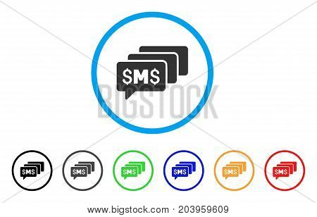 SMS Messages icon. Vector illustration style is a flat iconic sms messages grey rounded symbol inside light blue circle with black, gray, green, blue, red, orange color variants.