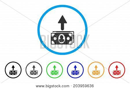 Spend Banknotes icon. Vector illustration style is a flat iconic spend banknotes grey rounded symbol inside light blue circle with black, gray, green, blue, red, orange color additional versions.