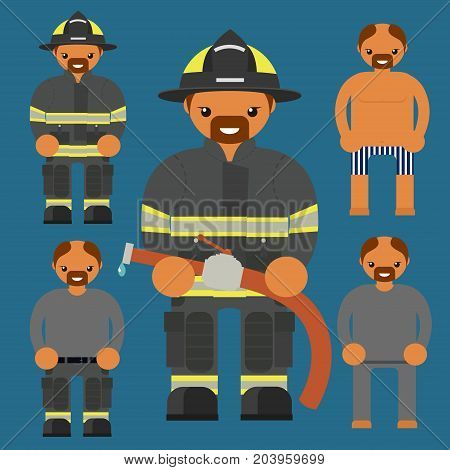 Flat firefighter character. Fireman kit uniform construction