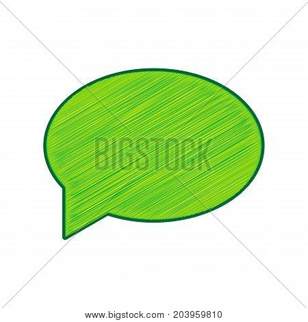 Speech bubble icon. Vector. Lemon scribble icon on white background. Isolated