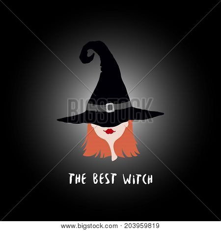Poster with witch in hat. Designed with text The best witch. Design element for Halloween.