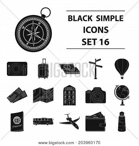 Rest and travel set icons in black design. Big collection of rest and travel vector symbol stock illustration
