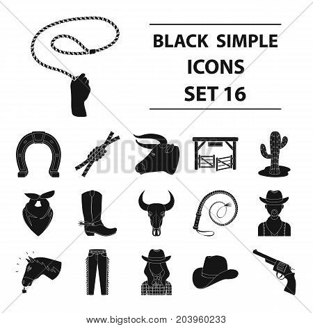 Rodeo set icons in black design. Big collection of rodeo vector symbol stock illustration