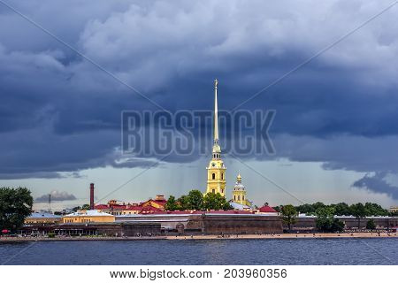 ST.PETERSBURG/RUSSIA - JULY 22, 2017. Peter and Paul Cathedral - the Orthodox Cathedral in St. Petersburg in the Peter and Paul Fortress, the tomb of Russian emperors.