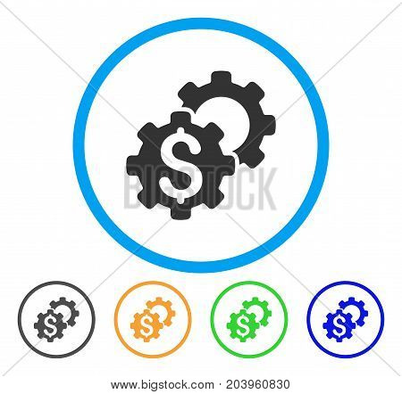 Bank Settings icon. Vector illustration style is a flat iconic bank settings grey rounded symbol inside light blue circle with black, green, blue, yellow color variants.