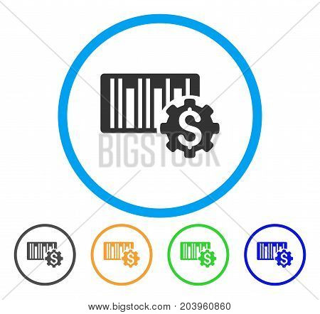 Barcode Price Setup Gear icon. Vector illustration style is a flat iconic barcode price setup gear grey rounded symbol inside light blue circle with black, green, blue, yellow color versions.