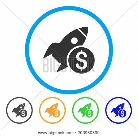 Business Startup Rocket icon. Vector illustration style is a flat iconic business startup rocket gray rounded symbol inside light blue circle with black, green, blue, yellow color variants.