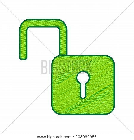 Unlock sign illustration. Vector. Lemon scribble icon on white background. Isolated