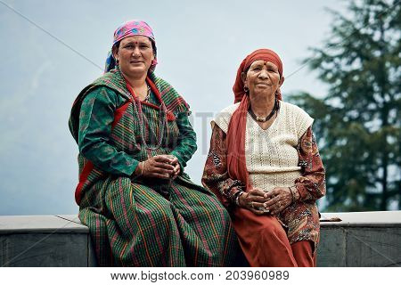 Naggar, India - July 17: Typical Local Indian Women Of North India In Traditional Dress For The Nort