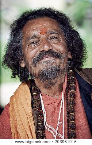 Naggar, India - July 17: Рortrait Of Brahmin. Smiling Indian Brahmin. Indian Man Poses For Photo. Ju