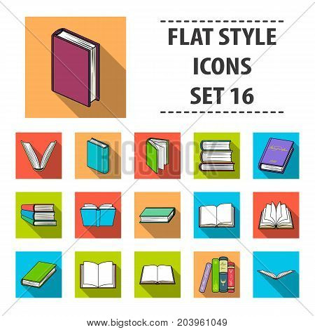 Books set icons in flat design. Big collection of books vector symbol stock illustration