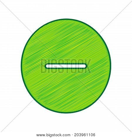 Negative symbol illustration. Minus sign. Vector. Lemon scribble icon on white background. Isolated