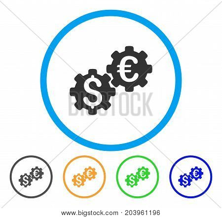 Financial Mechanics icon. Vector illustration style is a flat iconic financial mechanics gray rounded symbol inside light blue circle with black, green, blue, yellow color versions.