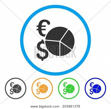 Financial Pie Chart icon. Vector illustration style is a flat iconic financial pie chart grey rounded symbol inside light blue circle with black, green, blue, yellow color versions.