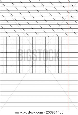 Sheets of a notebook in a cage and a ruler