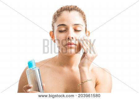 Young Woman Removing Her Makeup