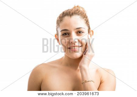 Woman Touching Her Soft Skin