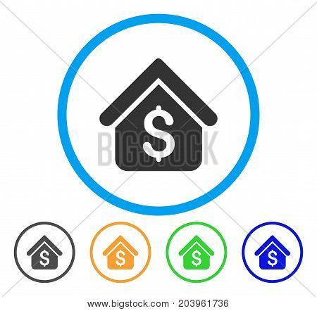 Loan Mortgage icon. Vector illustration style is a flat iconic loan mortgage gray rounded symbol inside light blue circle with black, green, blue, yellow color variants.