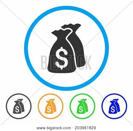 Money Bags icon. Vector illustration style is a flat iconic money bags gray rounded symbol inside light blue circle with black, green, blue, yellow color versions.