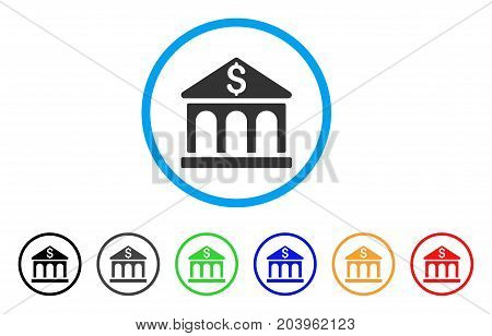 Bank Building icon. Vector illustration style is a flat iconic bank building gray rounded symbol inside light blue circle with black, gray, green, blue, red, orange color additional versions.