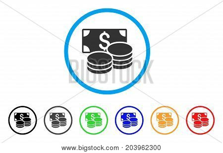 Cash icon. Vector illustration style is a flat iconic cash grey rounded symbol inside light blue circle with black, gray, green, blue, red, orange color additional versions.