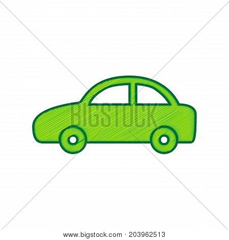 Car sign illustration. Vector. Lemon scribble icon on white background. Isolated