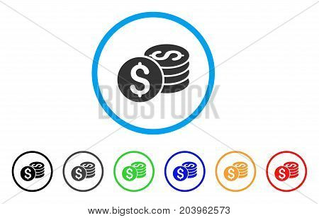 Dollar Coin Stack icon. Vector illustration style is a flat iconic dollar coin stack gray rounded symbol inside light blue circle with black, gray, green, blue, red, orange color variants.