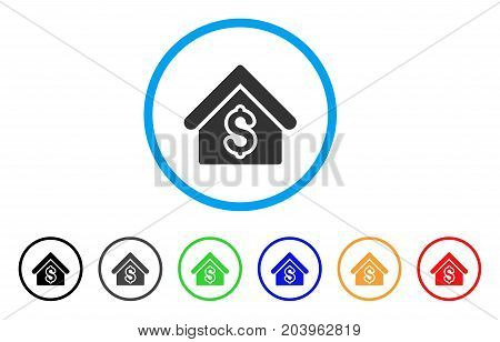 House Rent icon. Vector illustration style is a flat iconic house rent grey rounded symbol inside light blue circle with black, gray, green, blue, red, orange color versions.
