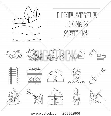 Mine set icons in outline style. Big collection of mine vector symbol.